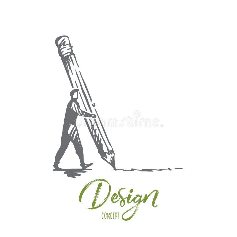 Planlägg idérikt, grafiskt, utveckling, manöverenhetsbegrepp Hand dragen isolerad vektor vektor illustrationer