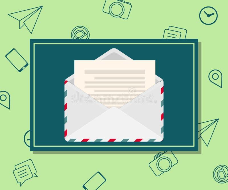 Planlägg mallen av emailmarknadsföringen och informationsbladadvertizingen svart telefon för kommunikationsbegreppsmottagare stock illustrationer