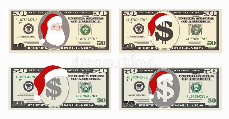 Planlägg mallen 50 dollar sedel med Santa Claus och den röda hatten stock illustrationer