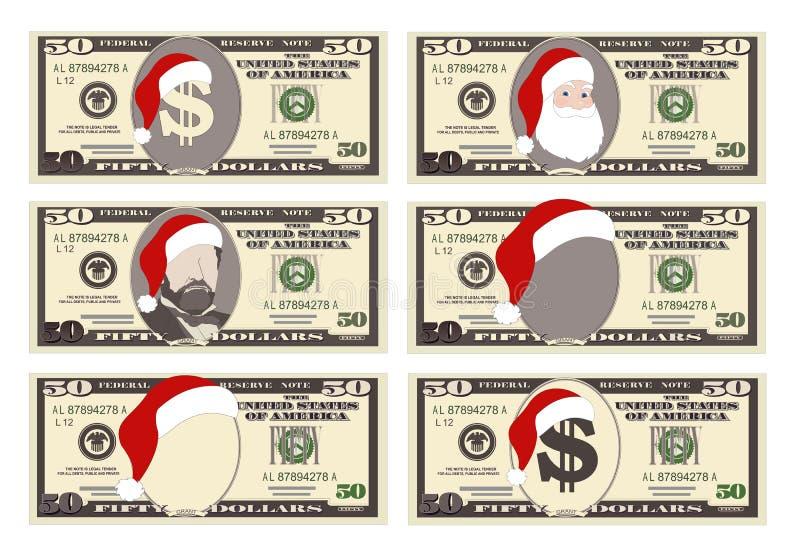 Planlägg mallen 50 dollar sedel med Santa Claus och den röda hatten vektor illustrationer