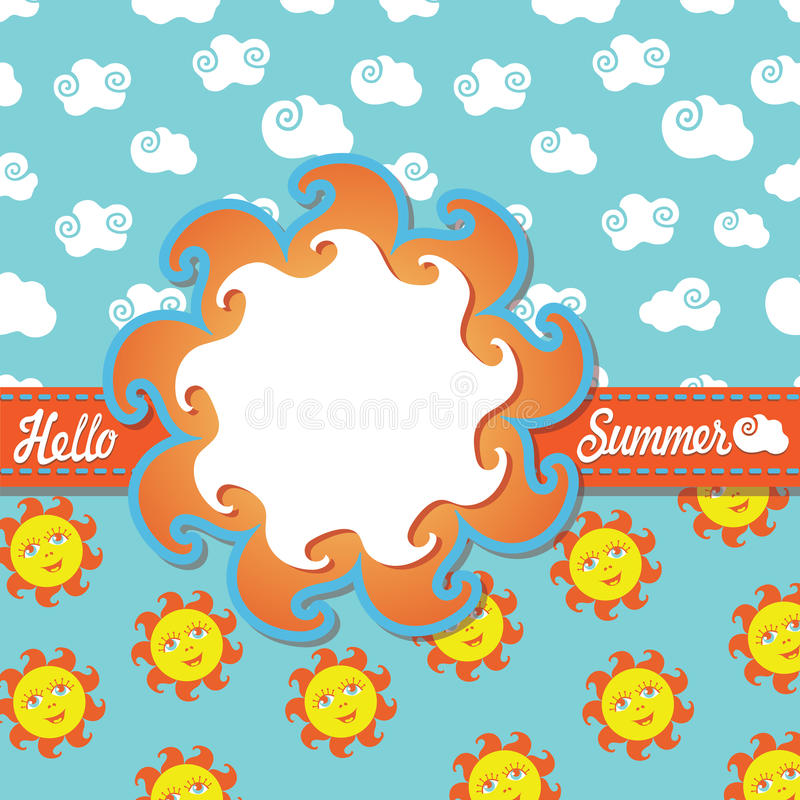 Planlägg mallHello sommar med tecknad filmsolen och moln stock illustrationer