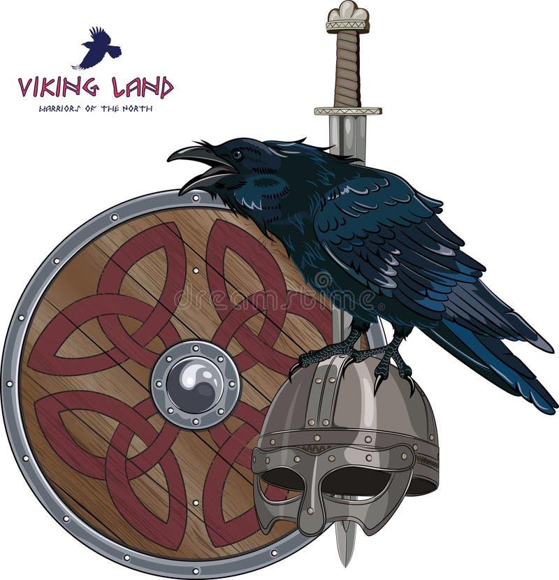 Planlägg med det nordiska svärdet, skölden, den Viking hjälmen och sammanträde på det som är korpsvart vektor illustrationer