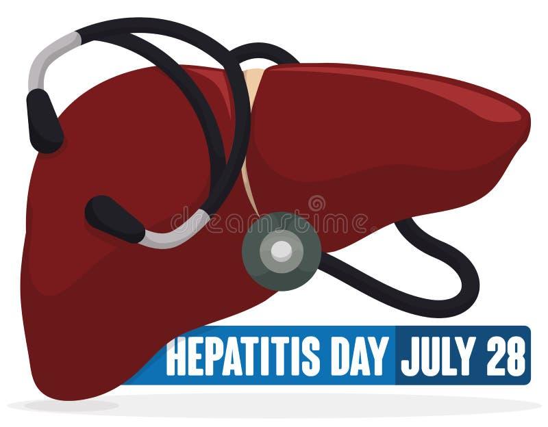 Planlägg med lever och stetoskopet runt om den för hepatitdagen, vektorillustration stock illustrationer