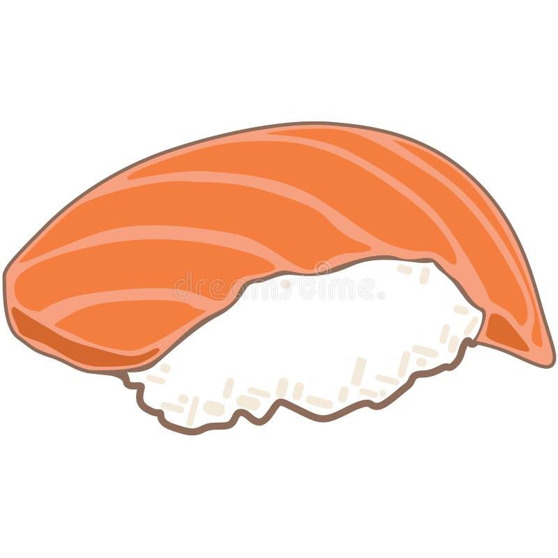 planlägg praktiska sushi för laxen för elementmenyrestaurangen mycket royaltyfri illustrationer