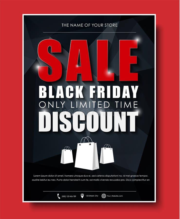 Planlägg reklamblad för en affisch, baner för försäljningar på Black Friday vektor illustrationer