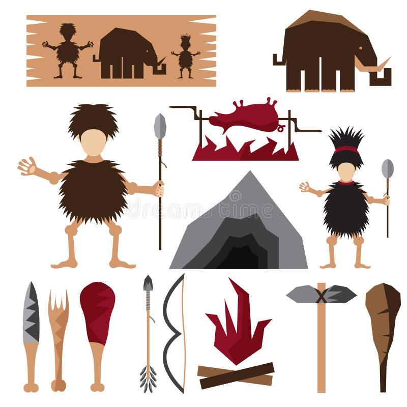 planlägg symboler av paleomat- och grottmänniskatemat royaltyfri illustrationer