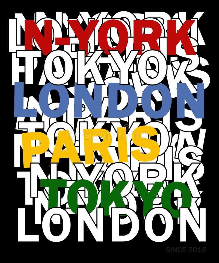 Planlägg vektortypografi New York 02 för t-skjorta vektor illustrationer