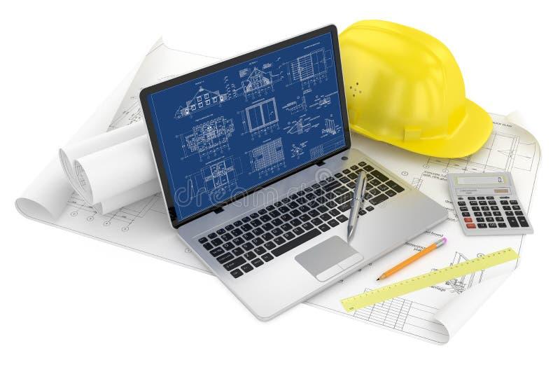 Planlägga av projektet. Attraktioner och bärbar dator royaltyfri illustrationer