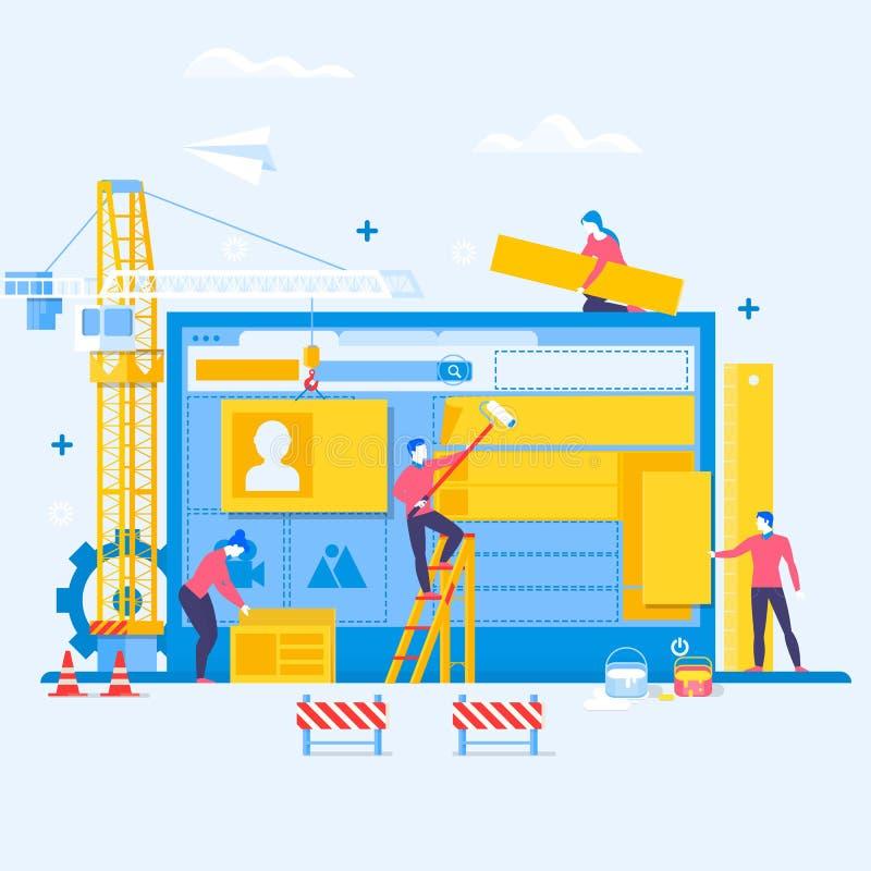 Planlägga en website eller en applikation Website under konstruktionsbegreppsbakgrund i plan design royaltyfri illustrationer