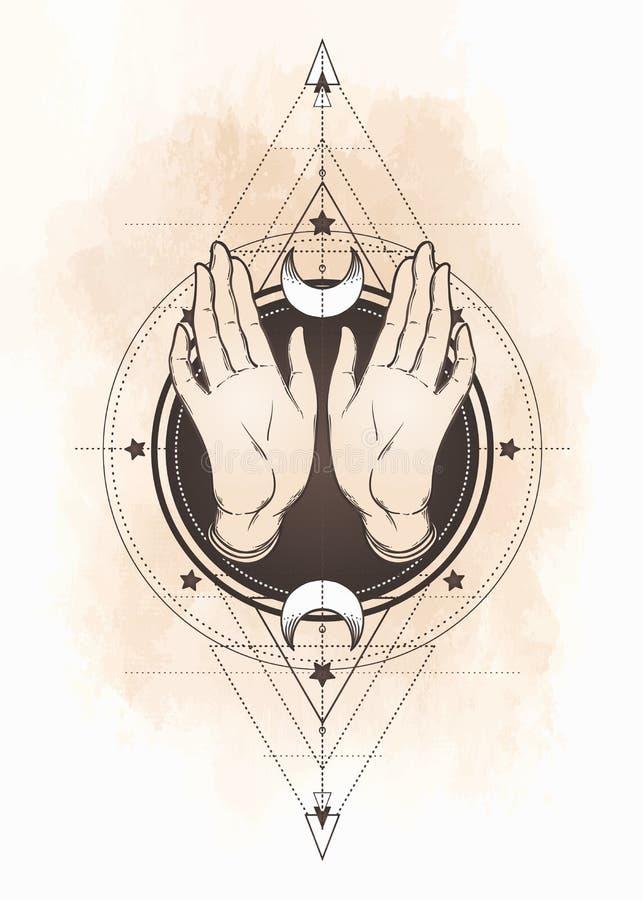 Planlägger öppna händer för kvinnlig över sakral geometri beståndsdelar Alkemi, royaltyfri illustrationer