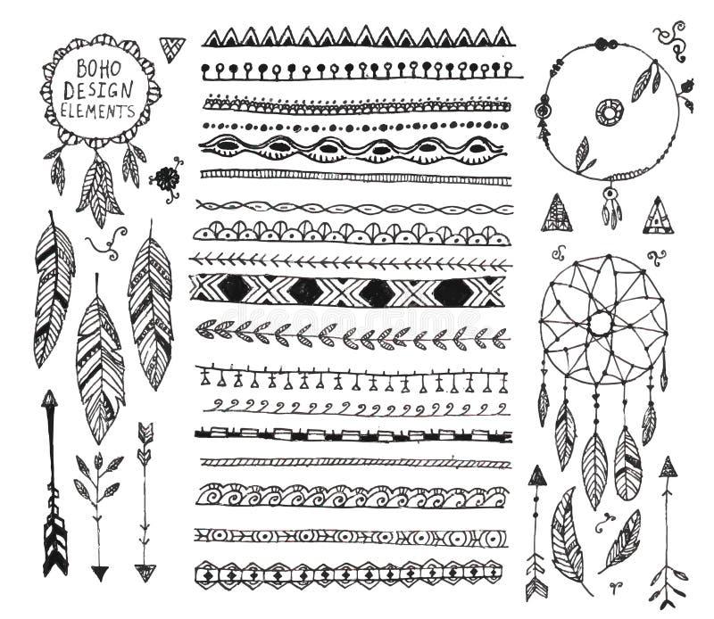 Planlägger den blom- dekoruppsättningen för vektorn, samling av handen drog avdelare för klotterbohostil, gränser, pilar bestånds stock illustrationer