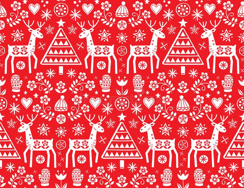 Planlägger den sömlösa modellen för julfolkkonstvektorn med renen, blommor, Xmas-trädet och vinterkläder i vit på röd backgrou vektor illustrationer