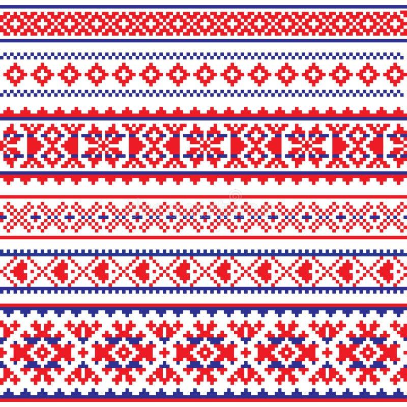Planlägger den sömlösa modellen för den Sami vektorn, Lapland folkkonst, traditionellt handarbete och broderi stock illustrationer
