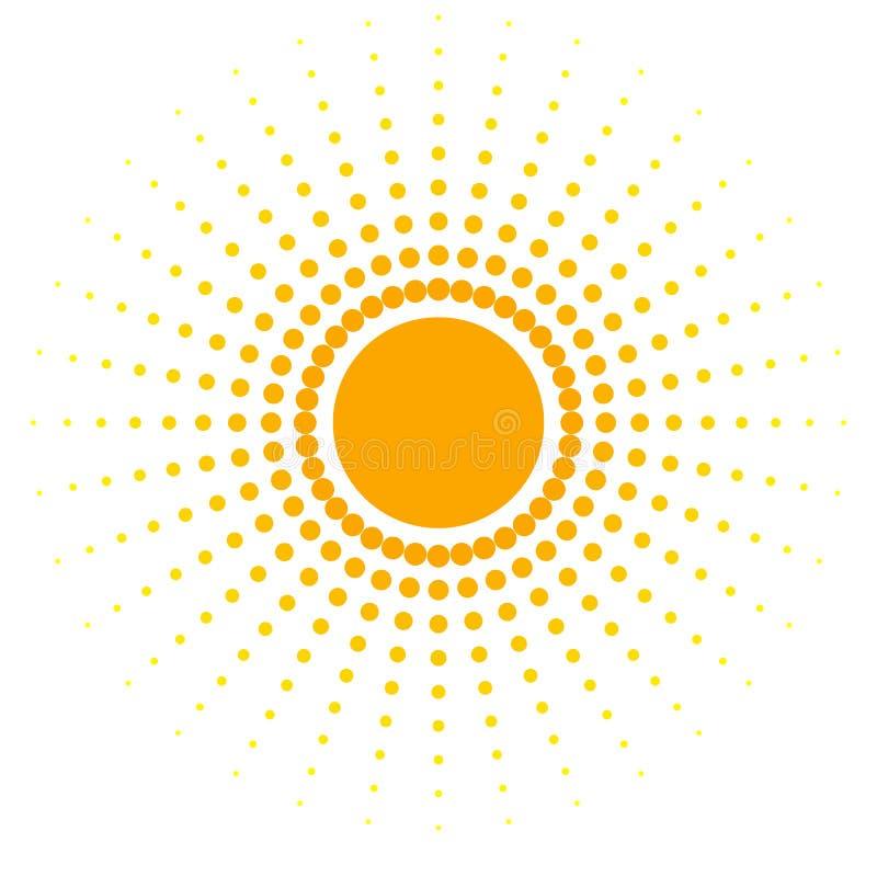 Planlägger det orange abstrakta banret för mellanrumet av prickar beståndsdelen i form av en sol med isolerade prickiga strålar i stock illustrationer