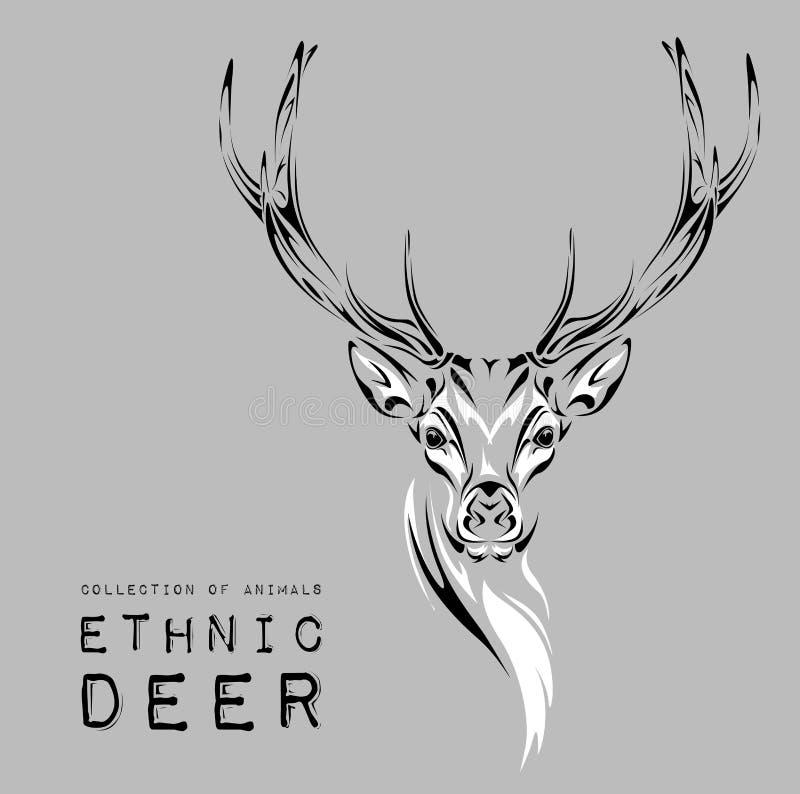 Planlägger det svarta huvudet för person som tillhör en etnisk minoritet av hjortar på den vita bakgrundstotemet/tatueringen Bruk vektor illustrationer
