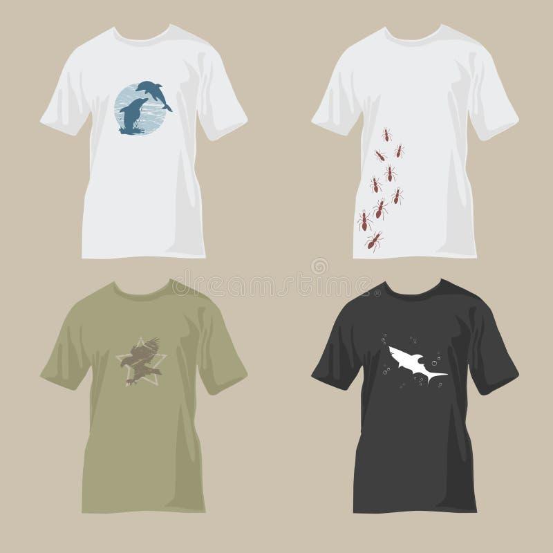 planlägger djurliv för skjortor t stock illustrationer