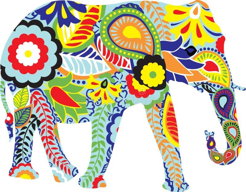 planlägger elefantindiersilhouetten stock illustrationer