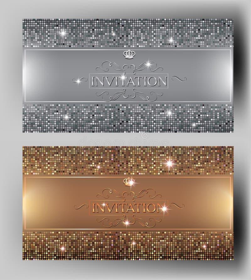 Planlägger eleganta inbjudankort för storgubbe med guld och silver beståndsdelar stock illustrationer