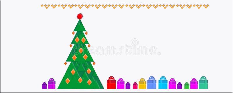 Planlägger färgrik bakgrund för vinterträdet, glad jul, trädet för det nya året, vykortet, modeller, nytt, 2019, baner, vektor illustrationer