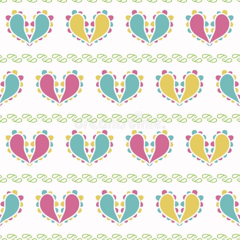 Planlägger färgrika Paisley för vektorn hjärtor på grön sömlös modellbakgrund royaltyfri illustrationer