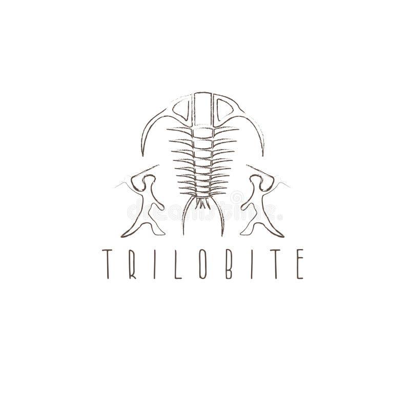 Planlägger fossil- trilobite för arthropoden och den forntida jägarevektorn stock illustrationer