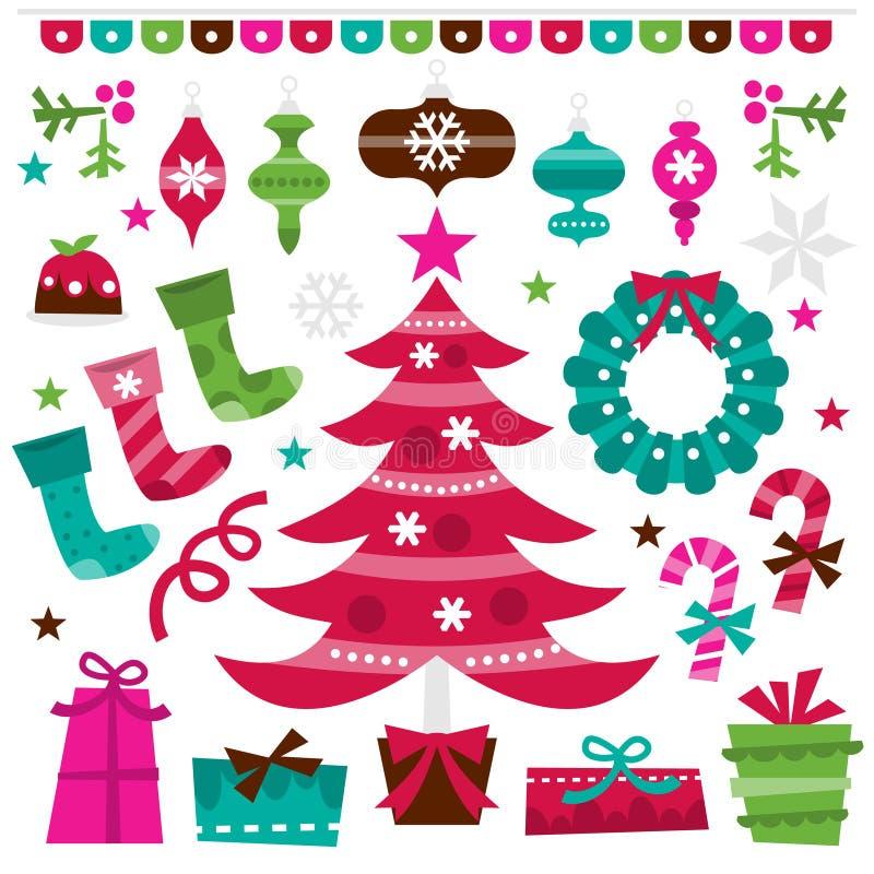 Planlägger glad jul för Retro järnek beståndsdeluppsättningen royaltyfri illustrationer