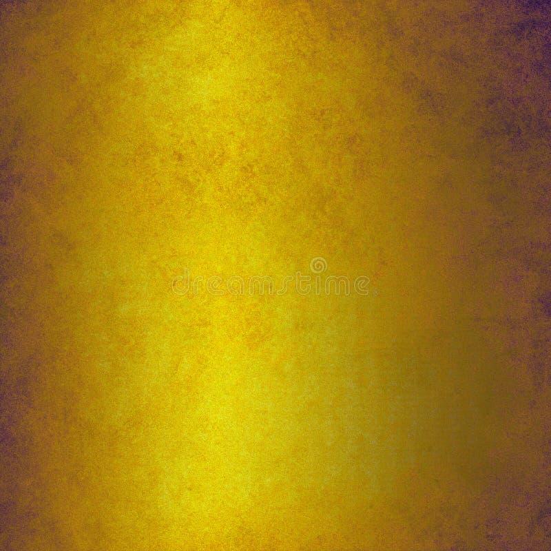 Planlägger guld- bakgrund för tappning med bekymrad brun textur och skinande metall vektor illustrationer