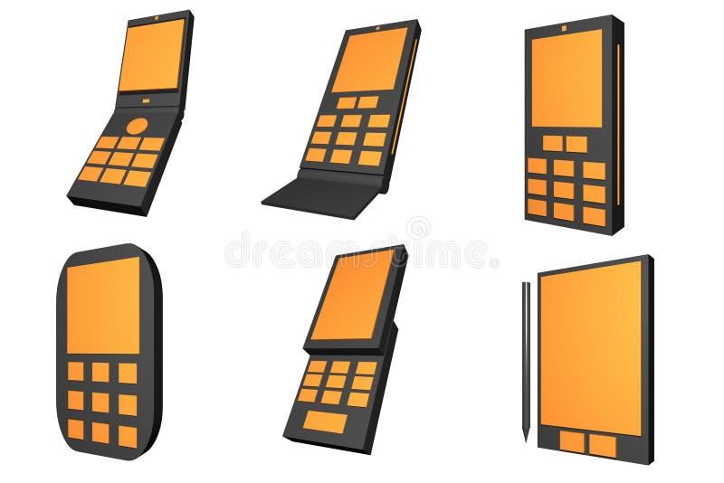 planlägger mobil telefontyp för symboler stock illustrationer