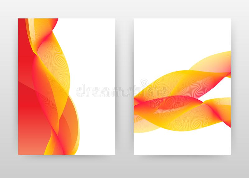 Planlägger röda gula vinkade linjer för virvel för årsrapporten, broschyren, reklambladet, affisch Röd gul vinkande fodrad textur vektor illustrationer
