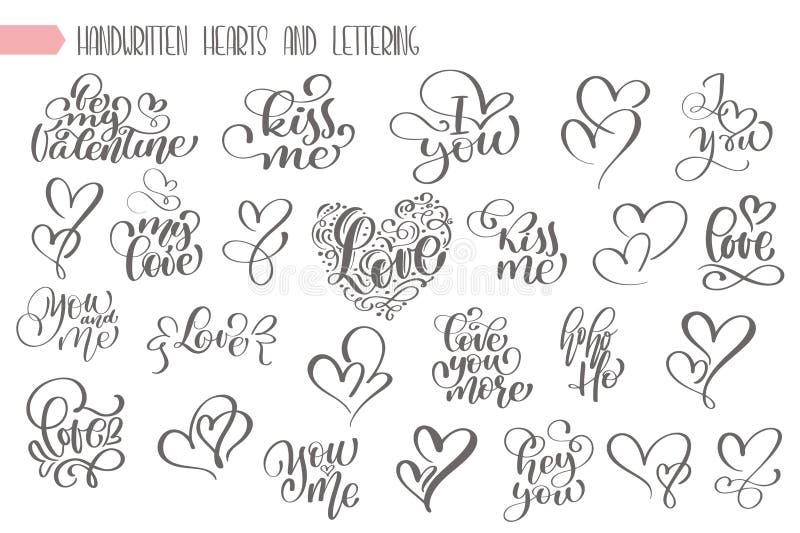 Planlägger skriftlig bokstäver för den stora uppsättninghanden om förälskelse till valentindagen och hjärta affischen, hälsningko vektor illustrationer