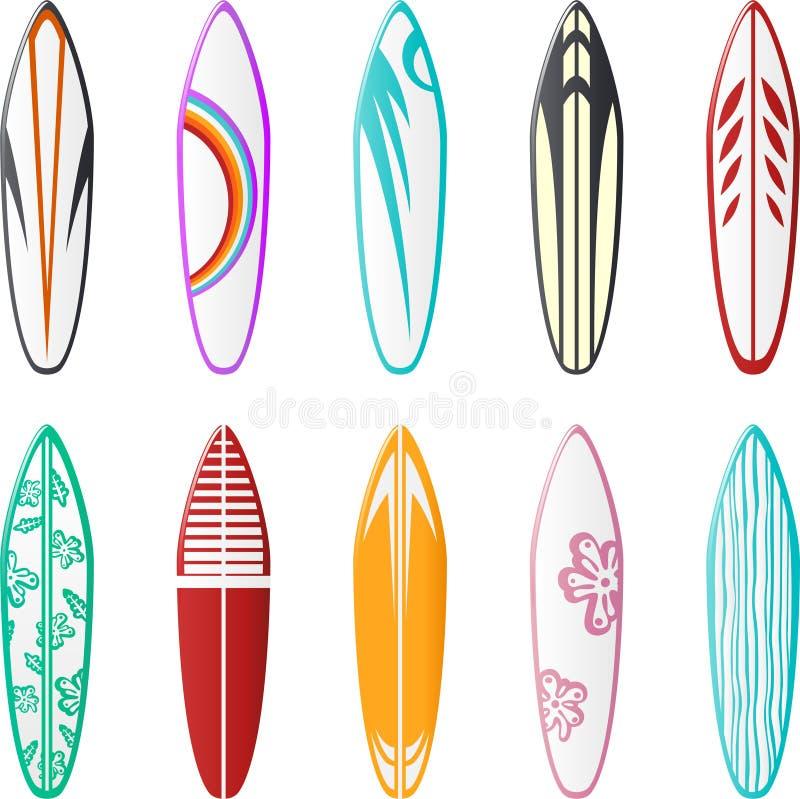 planlägger surfingbrädan vektor illustrationer