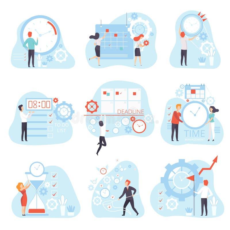 Planläggning för affärsfolk och kontrollera arbetstiduppsättningen, illustration för vektor för affärsidé för Tid ledning stock illustrationer