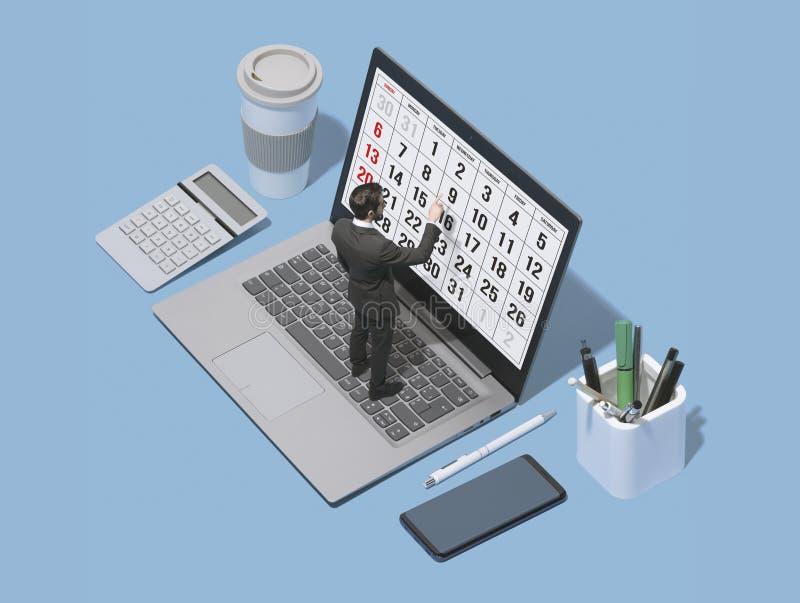 Planläggning för affärsledare med en digital kalender royaltyfri bild