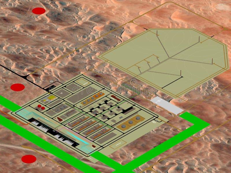 Planläggning för olja- & gasväxtprojekt, planläggning för modell 3D arkivfoto