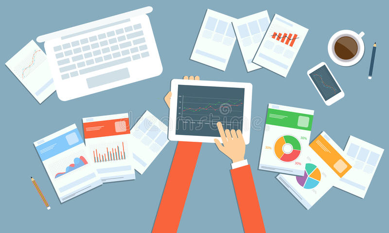 Planläggning för vektoraffärsinvestering på apparatteknologi royaltyfri illustrationer