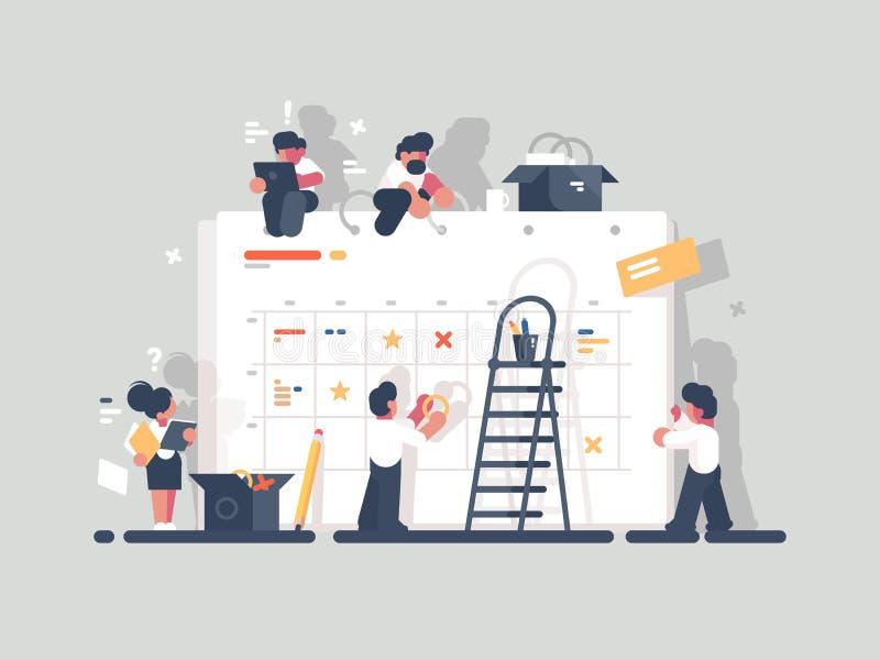 Planläggning och organisation av uppgifter ombord vektor illustrationer