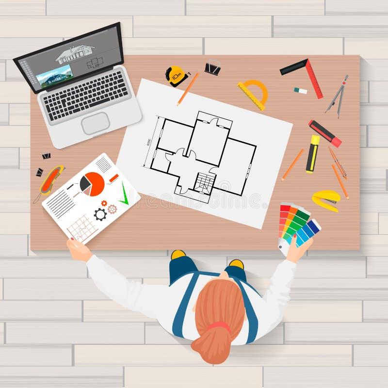 Planläggningen för arkitektkonstruktionsteknik och skapaprocessen med professionelln bearbetar arbetsplatsen Projekterar tekniskt vektor illustrationer