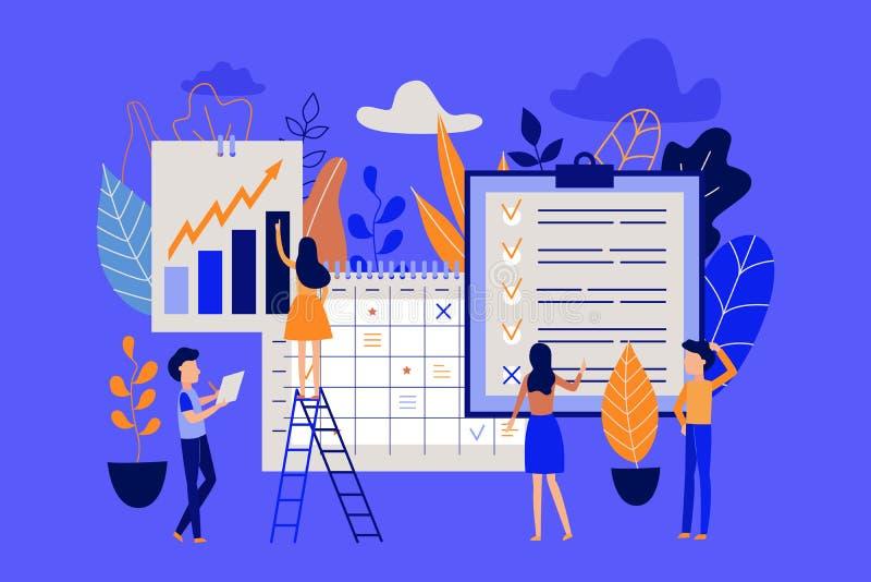 Planläggnings- och tidledningbegrepp med folk som organiserar funktionsduglig process och noterar avslutade uppgifter i lista stock illustrationer