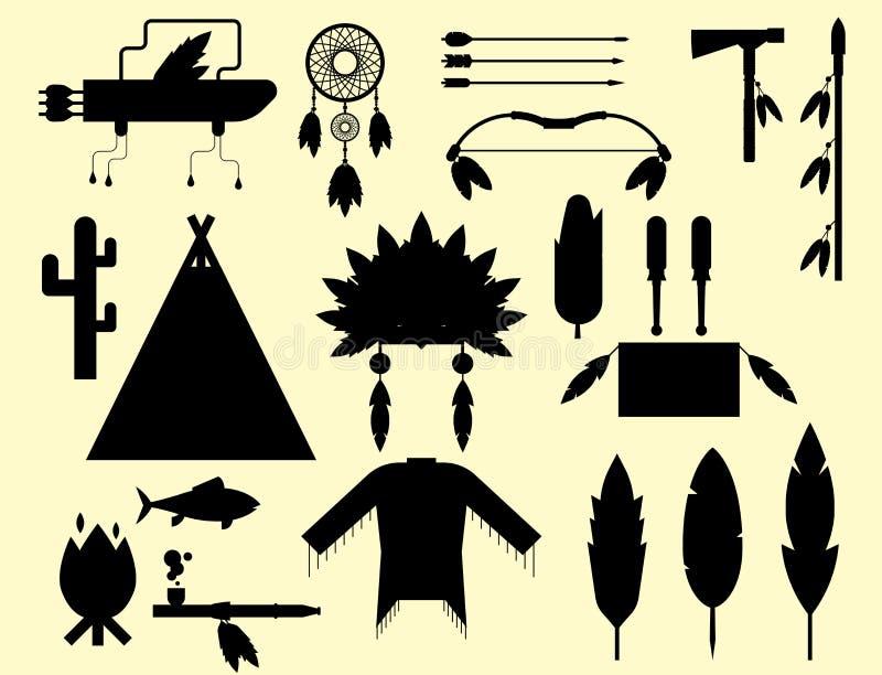 Planlagd lös västra amerikansk indier royaltyfri illustrationer