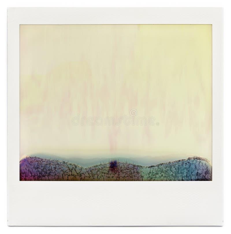 Planlagd tom ögonblicklig filmram med abstrakt fyllning som isoleras på vit royaltyfria bilder