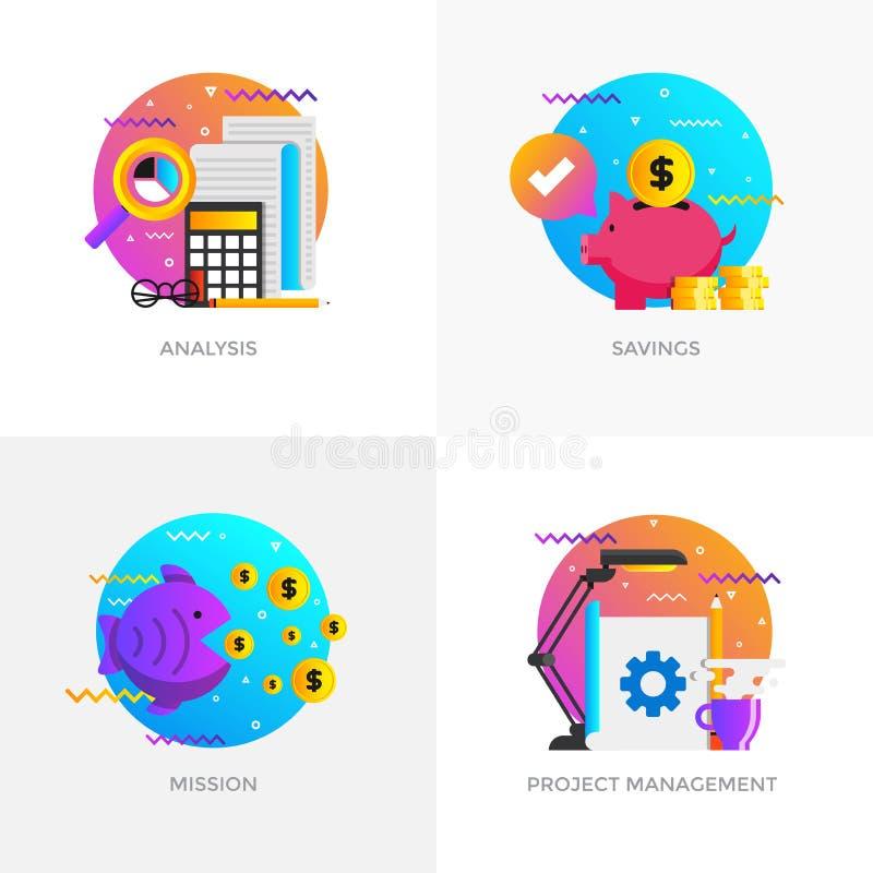 Planlagda begrepp för lägenhet - analys, besparingar, beskickning och projekt royaltyfri illustrationer