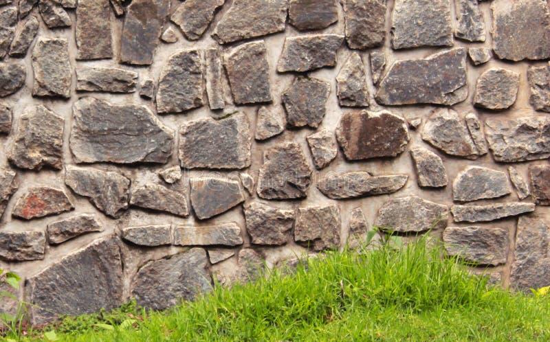 Planlagt med stenväggen med textur för grönt gräs arkivbilder