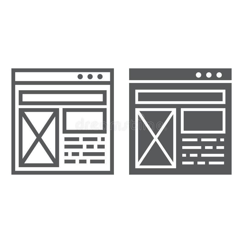 Planlinie und Glyphikone, Website und Entwurf, Schablonenfensterzeichen, Vektorgrafik, ein lineares Muster vektor abbildung
