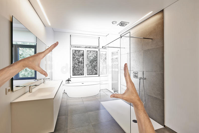 Planned renovation of a Luxury modern bathroom stock photo