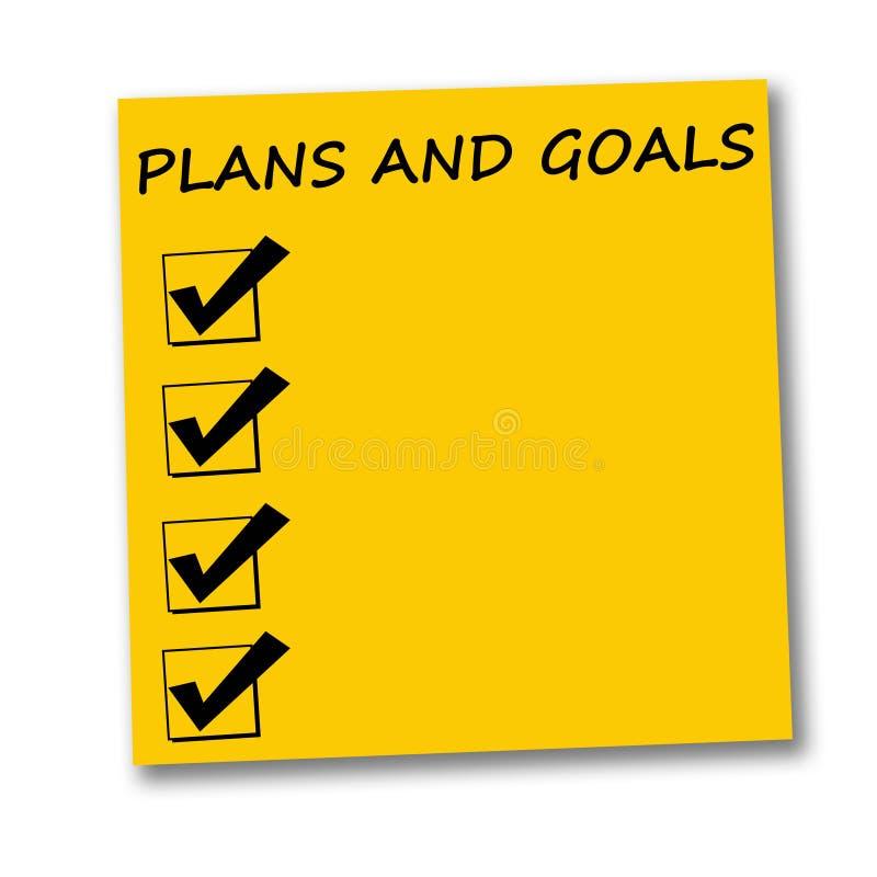 Plannen en doelstellingen stock illustratie