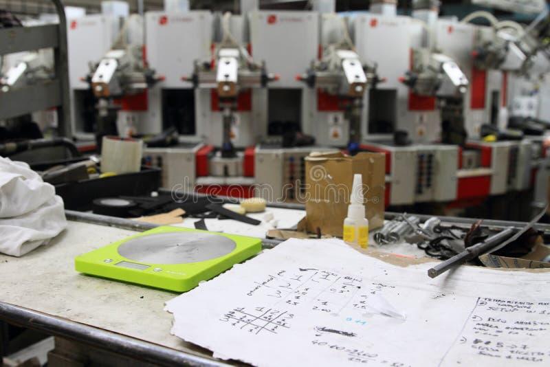 Plannen en machines bij de schoenenfabriek stock fotografie