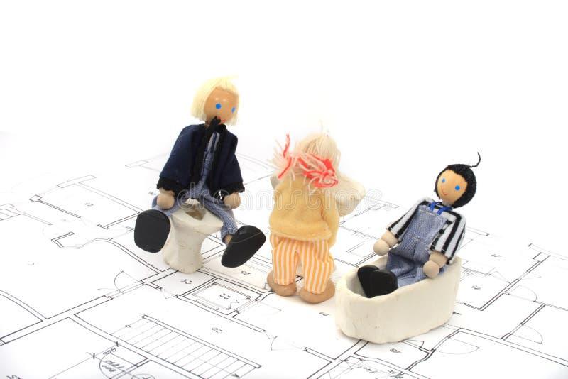 Plannen en speelgoed stock foto