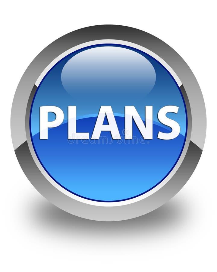 Plannen glanzende blauwe ronde knoop royalty-vrije illustratie