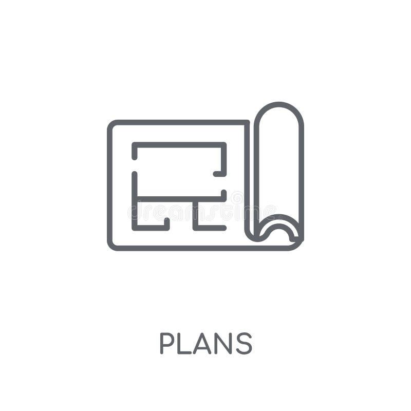 Plannen lineair pictogram Modern het embleemconcept van overzichtsplannen op witte bedelaars vector illustratie