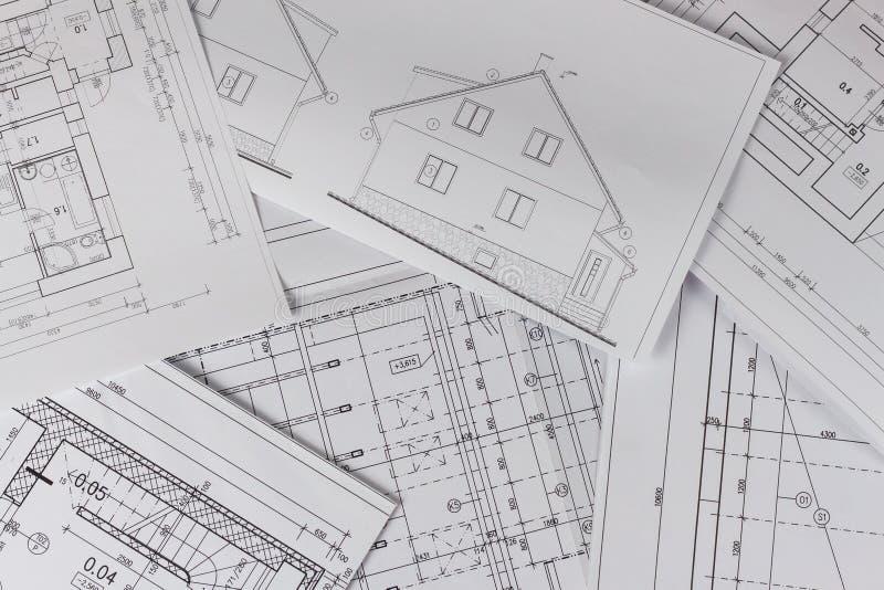 Plannen van de bouw Architecturaal project Het vloerplan ontwierp het voortbouwen op de tekening Techniek en technische tekening, royalty-vrije stock foto's